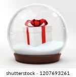gift box snowball decoration... | Shutterstock . vector #1207693261