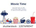 movie background with cinema... | Shutterstock .eps vector #1207698547