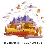 farm in scenic autumn landscape ...   Shutterstock .eps vector #1207698571