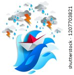 paper ship swimming in storm... | Shutterstock .eps vector #1207703821