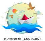 origami paper ship toy swimming ... | Shutterstock .eps vector #1207703824