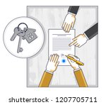 man signs bank mortgage... | Shutterstock .eps vector #1207705711