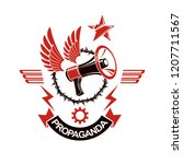 vector winged logo composed... | Shutterstock .eps vector #1207711567