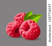 raspberries with a leaves and... | Shutterstock .eps vector #1207718197