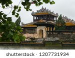 a palace building at a lake in... | Shutterstock . vector #1207731934