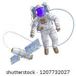 spaceman flying in open space... | Shutterstock .eps vector #1207732027