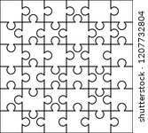 36 white puzzles pieces... | Shutterstock .eps vector #1207732804