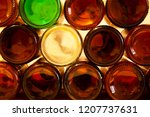 bottoms of empty glass beer... | Shutterstock . vector #1207737631