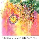 new year eve background with...   Shutterstock . vector #1207740181