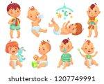 smiling cartoon baby. happy... | Shutterstock .eps vector #1207749991