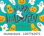 halloween party poster with... | Shutterstock .eps vector #1207762471
