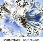 leopard pattern.silk scarf.for... | Shutterstock . vector #1207767334