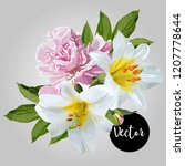 white lily and pink peony... | Shutterstock .eps vector #1207778644