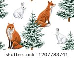 christmas trees  red fox and... | Shutterstock .eps vector #1207783741