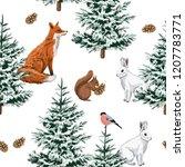 christmas trees  red fox  white ... | Shutterstock .eps vector #1207783771