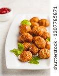 swedish traditional meatballs... | Shutterstock . vector #1207785871