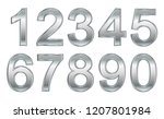 set of silver numbers.vector... | Shutterstock .eps vector #1207801984