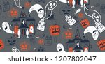 halloween holiday  pattern... | Shutterstock .eps vector #1207802047