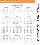 calendar 2019 year for hungary...   Shutterstock .eps vector #1207852627