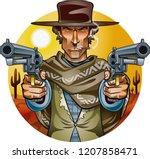 wild west gunslinger holding... | Shutterstock .eps vector #1207858471