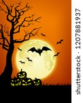 halloween background... | Shutterstock . vector #1207881937