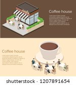 isometric exterior of coffee... | Shutterstock .eps vector #1207891654