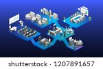 isometric flat 3d abstract... | Shutterstock .eps vector #1207891657