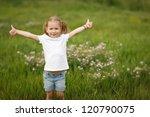 happy little girl showing thumb ... | Shutterstock . vector #120790075