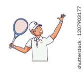 man tennis playing with racket... | Shutterstock .eps vector #1207903177