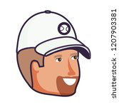 head of young man with sport cap | Shutterstock .eps vector #1207903381