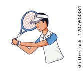man tennis playing with racket... | Shutterstock .eps vector #1207903384