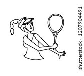 woman tennis playing with racket | Shutterstock .eps vector #1207904491