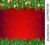 fir tree border with red... | Shutterstock . vector #1207904734