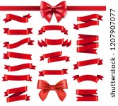 red ribbon and bow with... | Shutterstock .eps vector #1207907077