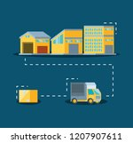 warehouse building with truck... | Shutterstock .eps vector #1207907611