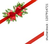 christmas red ribbon and bow... | Shutterstock . vector #1207914721