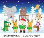 white christmas  the animals... | Shutterstock .eps vector #1207977094