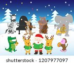 white christmas  the animals... | Shutterstock .eps vector #1207977097