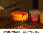 mousse yogurt cake. the girl... | Shutterstock . vector #1207983157