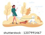 Stock vector young woman walks with dog through the woods concept girl in green dress with dachshund poodle 1207991467