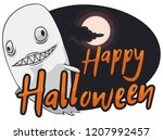 crazy ghost with spooky face ... | Shutterstock .eps vector #1207992457