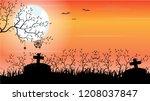 halloween day background decor... | Shutterstock .eps vector #1208037847
