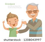 grandfather and grandson fist... | Shutterstock .eps vector #1208043997
