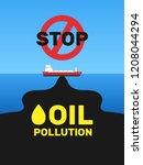 oil tanker black spot on ocean... | Shutterstock .eps vector #1208044294
