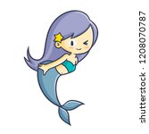 cute and funny mermaid smiling... | Shutterstock .eps vector #1208070787