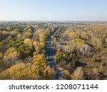 aerial view of autumn forest. | Shutterstock . vector #1208071144