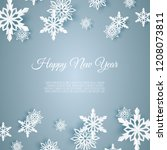 christmas card with paper snow... | Shutterstock .eps vector #1208073811