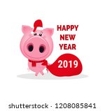funny cartoon pig with santa... | Shutterstock .eps vector #1208085841