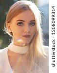 closeup portrait of lovely... | Shutterstock . vector #1208099314