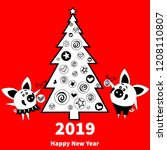 happy  new year 2019 greeting... | Shutterstock .eps vector #1208110807